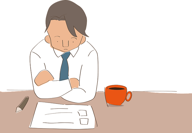 Man with folded arms for struggling business