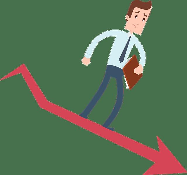 Cartoon man sliding down a graph for business fail
