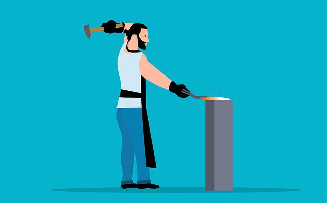 Image of man hammering to indicate metal worker