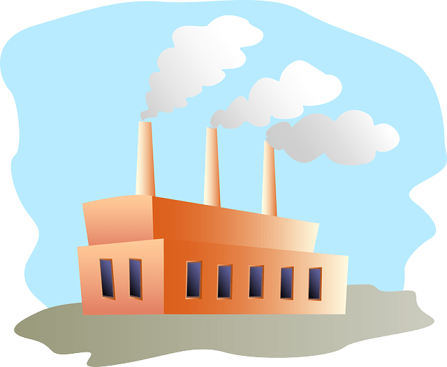Image of factory with 3 chimneys
