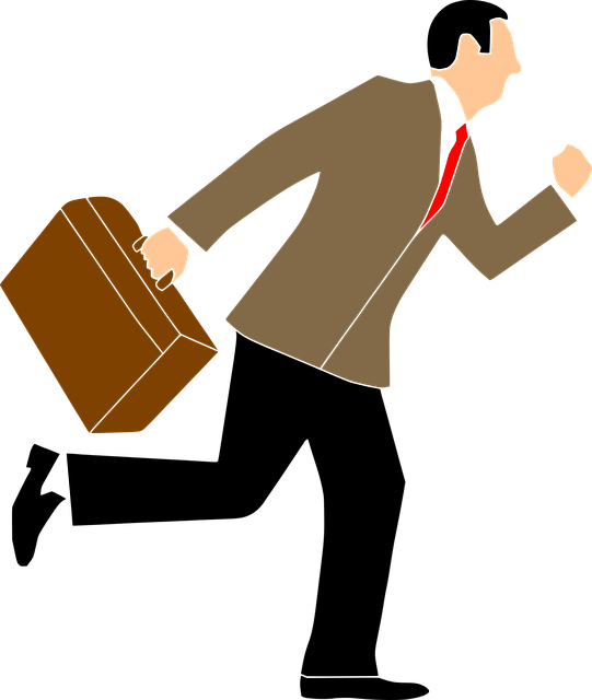 Cartoon man with brief case running have quit his job